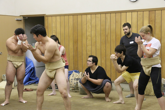 """Sumo Workshop,"" an exchange event between foreign students and the school's sumo club3"