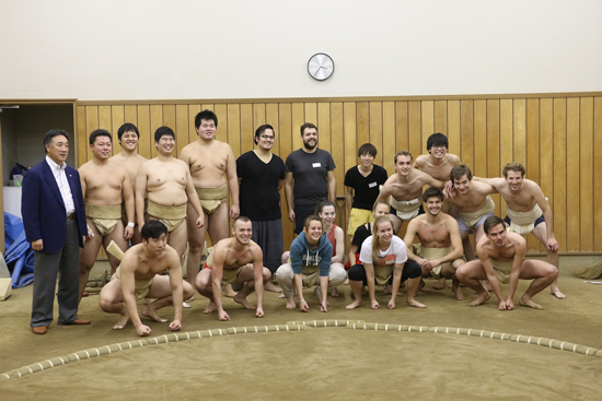"""Sumo Workshop,"" an exchange event between foreign students and the school's sumo club1"