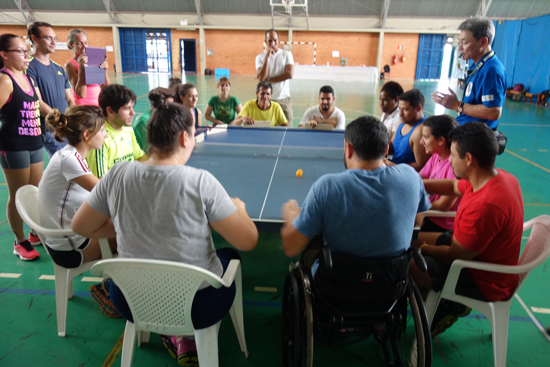 """Dissemination of """"Fusen Volleyball (Balloon Volleyball)"""" </br>and """"Takkyu Volleyball (Table Tennis Volleyball)"""" in Brazil, Paraguay, and Argentina3"""
