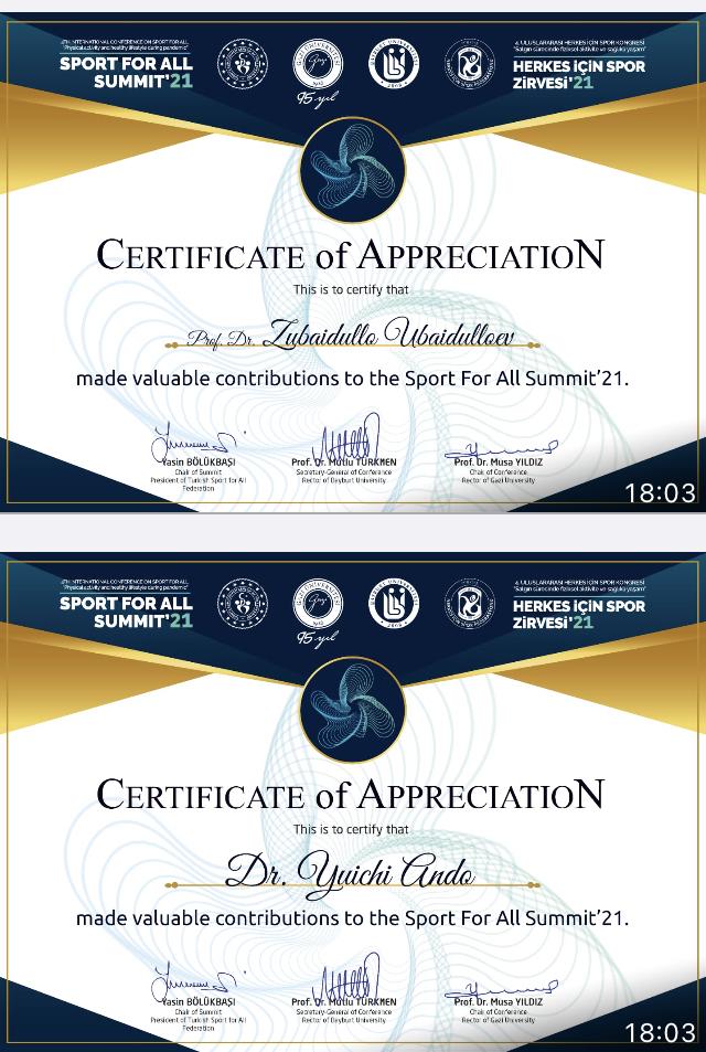 トルコ招待講演「Sport For All Summit & 4th International Conference On Sport For All」2